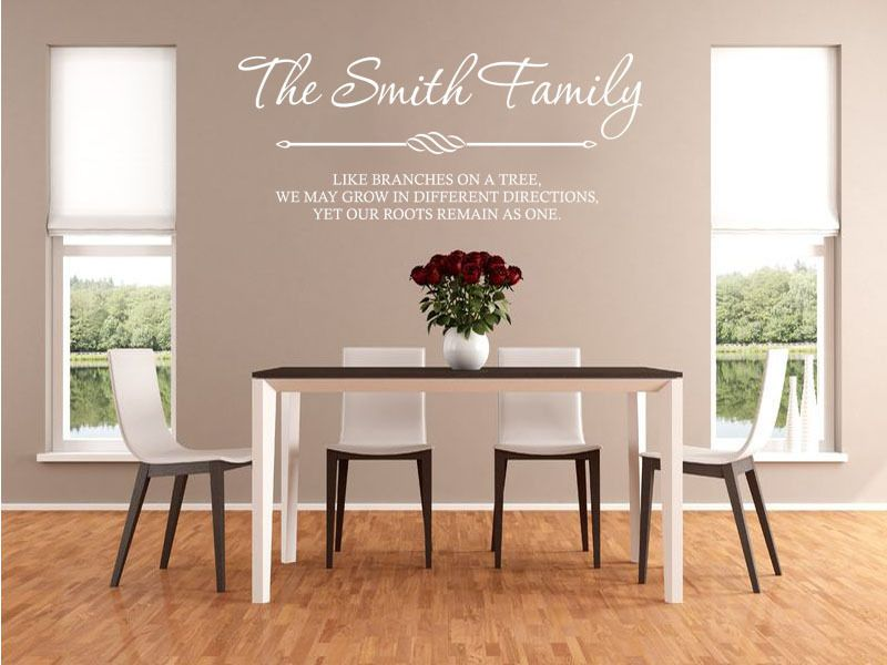 Modern Family Wall Decor : Personalised family wall art quote sticker decal
